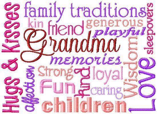 Single Designs Grandma Word Block Sew Fun Fonts